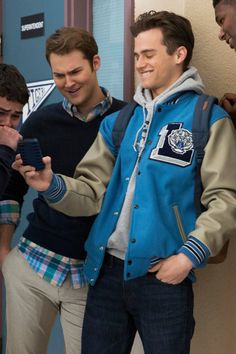 13 Reasons Why Justin Foley Letterman Jacket - Jeedad Specifications: Body: Cotton & Polyester Sleeves: Rib Knit Cuffs Front: Logo Color: Blue and Cream 13 Reasons Why Reasons, 13 Reasons Why Netflix, Thirteen Reasons Why, Hannah Baker Quotes, Men's Leather Jacket, Leather Men, Leather Jackets, Pretty Boys, Cute Boys