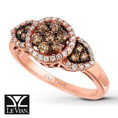 LeVian Chocolate Diamonds 5/8 ct tw Ring 14K Strawberry Gold