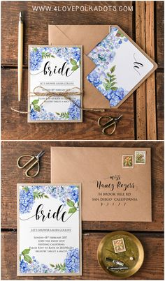 Bridal Shower Wedding Invitations full of flowers #eco #ecofriendly #rustic #hydrangea #blue #bridetobe #bridalshower