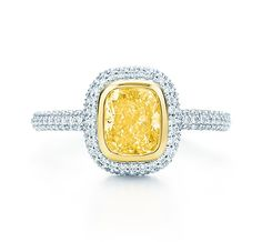 Tiffany & Co. | Item | Tiffany Bezet yellow and white diamond ring in platinum and 18k gold. | United States