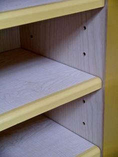 Designs by Robert Barnby Walnut Shelves, Low Shelves, Kitchen Larder, Scatter Cushions, Mid Century Design, Solid Oak, Bunk Beds, Color Splash, Storage Spaces