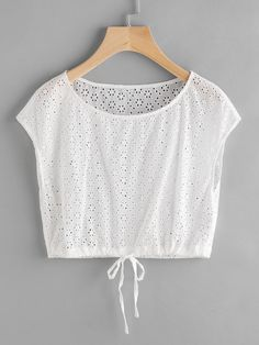 SheIn offers Drawstring Hem Eyelet Embroidered Crop Top & more to fit your fashionable needs. Teen Fashion Outfits, Fashion Tips For Women, Girl Fashion, Casual Outfits, Cute Outfits, Diy Couture Haut, Teenager Mode, Myanmar Traditional Dress, Crop Tops Online