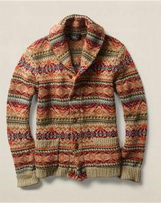 RRL: 2015FW Fair Isle Wool-Blend Cardigan: Shawl-collar cardigan jacquard-knit from a hardy wool blend. Features a rich Fair Isle pattern.