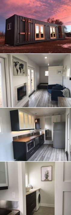 The Intellectual is a 320-square-foot shipping container tiny house with a main floor bedroom, electric fireplace, and two double French doors.