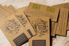 """Designed by Seed.  Brown paper says """"Natural"""" """"Eco-friendly"""" -- old-fashioned graphic says """"Tradition"""" """"Reliable"""""""