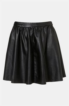 Topshop Faux Leather Skater Skirt available at #Nordstrom