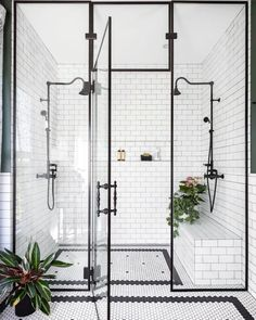 Home Interior Design black and white bathroom walk in shower with built in seat.Home Interior Design black and white bathroom walk in shower with built in seat Bad Inspiration, Bathroom Inspiration, Bathroom Inspo, Shower Bathroom, Master Shower, Bathroom Carpet, Shower Tiles, Cool Bathroom Ideas, Houzz Bathroom