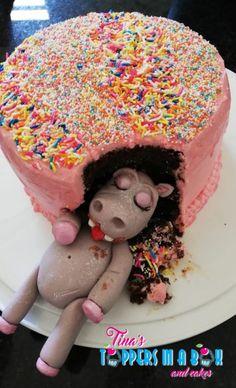 #hungryhippofondanttopper #tinastoppersinabox Cake Toppers, Birthday Cake, Desserts, Food, Tailgate Desserts, Birthday Cakes, Deserts, Essen, Dessert