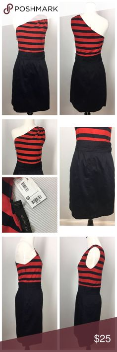 NWT The Limited Red One Shoulder Striped Stretch 2 The Limited Dress Size: 2 Color: Red and Navy Blue/Black  Perfect for the summer cocktail party! The Limited Dresses One Shoulder