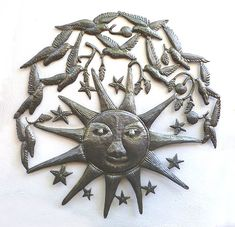 "Large Sun with Birds - Haitian Metal Wall Decor - 34"" - $159.95 -  Steel Drum Metal Art from  Haiti - Interior or Garden Décor   * Found at  www.HaitiMetalArt.com  Metal Sun – Sun Wall Hanging – Sun Wall Decor - Haitian Metal Art, Recycled Steel Drum Art of Haiti, Metal Wall Decor - Handcrafted Metal Art  - Haitian Art – Haitian Steel Drum Metal Art – Metal Wall Hanging – Metal Wall Art of Haiti - Haiti - Metal Art - Haitian  Home Décor -"