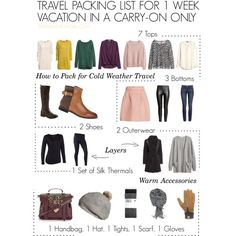 This is a travel packing list for a cold weather vacation using a carry-on only. Pack light with travel tips from http://travelfashiongirl.com/ This is Part 1 of a three-part packing series! Never check a bag again!