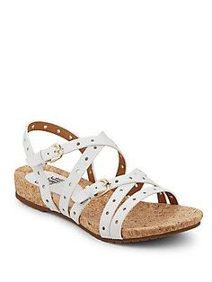 Sofft Malana Strappy Leather Sandals - White - Size