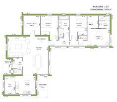 Plan de maison plein pied en v maison pinterest for Plan maison toit plat 120m2