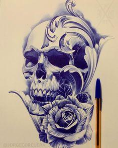 Tattoo Lettering Design, Buddha Tattoo Design, Japan Tattoo Design, Skull Tattoo Design, Tattoo Design Drawings, Rose Drawing Tattoo, Realistic Rose Tattoo, Dark Art Tattoo, Skull Rose Tattoos