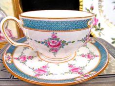 MINTON TEA CUP AND SAUCER PINK ROSES PAINTED ENAMELED TEACUP CUP & SAUCER BR | Antiques, Decorative Arts, Ceramics & Porcelain | eBay!