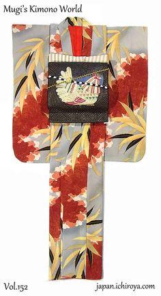 Welcome to Mugi's Kimono World ! Yukata Kimono, Kimono Fabric, Kimono Dress, Kimono Style, Japanese Costume, Japanese Kimono, Traditional Kimono, Traditional Dresses, Kimono Design