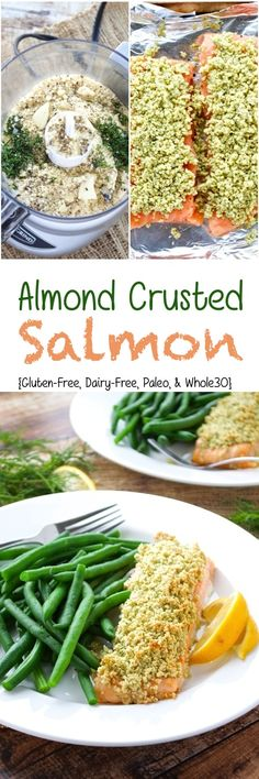 Just 7 ingredients are required in this healthy almond crusted salmon recipe! It… Just 7 ingredients are required in this healthy almond crusted salmon recipe! It comes together really fast, so it's perfect for busy weeknights. Fish Recipes, Seafood Recipes, Paleo Recipes, Dinner Recipes, Paleo Whole 30, Whole 30 Recipes, Seafood Dishes, Fish And Seafood, Clean Eating