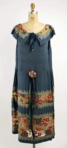 Silk dress with multi-color panels, c. 1920.