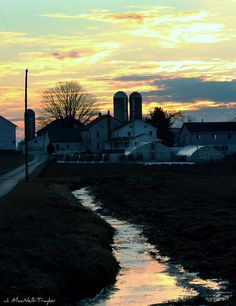 Early morning Amish farm. Lancaster Co, PA.  Photo by Gypsy Mare Studios. #winter #farm