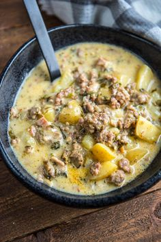 If you love this classic favorite soup from a restaurant then you will love making your own at home! Slow Cooker Zuppa Toscana is packed full of juicy sausage, tender potatoes and tons of flavor! Pork Recipes, Gourmet Recipes, Cooking Recipes, Healthy Recipes, Chicken Recipes, Dinner Recipes, Chili Recipes, Family Recipes, Delicious Recipes