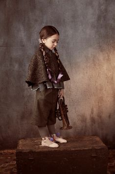 Natural kids fashion by Tia Cibani with earth coloured tweeds for fall 2016
