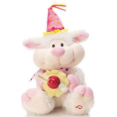 """A great addition to any little kid's birthday party! Sings """"Happy Birthday!"""" Lily's cupcake spins with LED lights that display 3 messages: """"I Love You,"""" Happy Birthday"""" and 9 hearts. Uses 3 AAA batteries (not included). 12"""" H x 4 1/2"""" L x 6 1/2"""" W. Polyester. Imported.""""Happy Birthday to You"""" (Mildred J. Hill and Patty Smith Hill) © (Renewed) Summy-Birchard Company (ASCAP) All rights reserved. Used by permission."""