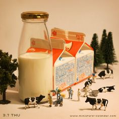 Dairy. miniature photography - incredibly enchanting and surreal worlds made of little people - It's a small world afterall! Creative macro lens photography