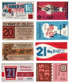 vintage bus passes      A collection of weekly bus passes from Milwaukee, WI. Years covered are 1930-1979. Was there a new design every single week?