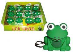 PORTACHIAVI LED RANA con verso sonoro. Porta chiavi rana in plastica con luce che fuoriesce dalla bocca