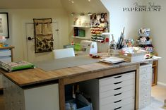 Love this desk & the organization around it for scrapbooking.