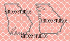 Georgia home state cut file for monogram with place for by Zindee