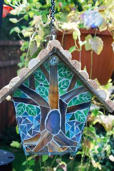 Birdhouse Stained Glass Mosaic Goldfinch by NatureUnderGlass. Only thing I would change is leaving a hole for the birds to utilize the beautiful space. Mosaic Pots, Mosaic Birds, Mosaic Wall Art, Mosaic Diy, Mosaic Garden, Mosaic Crafts, Mosaic Projects, Mosaic Glass, Stained Glass