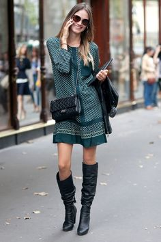 Dotted green dress a...