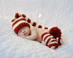 Newborn Baby Stocking Hat - Photo Props, Photography Props, Boys, Christmas, Girls,  Elf Hat, Striped Hat
