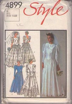 MOMSPatterns Vintage Sewing Patterns - Style 4899 Vintage 80's Sewing Pattern BRIDAL Misses Wedding Lined Wedding and Bridesmaid's Dress Gal...