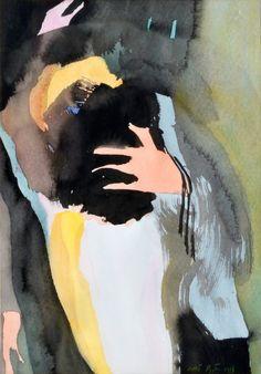 "huariqueje: "" Triangle drama - Olli Lyytikäinen , 1981 Finnish, Watercolour , 34 x 24 cm. Prehistory, Watercolor Art, Triangle, Drama, Batman, Superhero, Drawings, Illustration, Artwork"