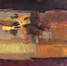 back ground for sunset sky, Sandy Murphy (Scottish artist) - Autumn Wood, oil painting.