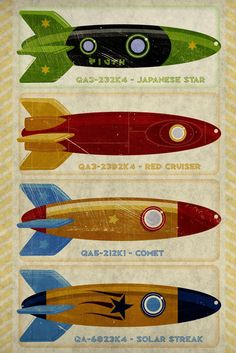 Retro Rockets Print x Rocket Nursery Art Print- Art For Kids Room- Wall Art for Men- Tin Toy Rocket Art Print- Space Art- Kid Decor. Toy Rocket, Retro Rocket, Rocket Ships, Vintage Space, Vintage Design, Collages, Kids Room Wall Art, Science Fiction Art, Retro Art