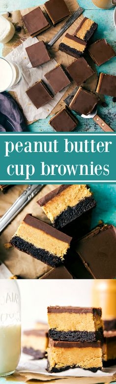 Easy and delicious buckeye brownies. A brownie base with a thick creamy peanut butter filling and a soft chocolate fudge topping layer. I'm kind of having a mom Peanut Butter Cup Brownies, Peanut Butter Desserts, Peanut Butter Cups, Chocolate Desserts, Chocolate Fudge, Chocolate Cheesecake, Just Desserts, Delicious Desserts, Dessert Recipes
