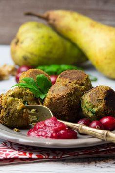 Festive Vegan Falafel with Cranberry Pear Dip