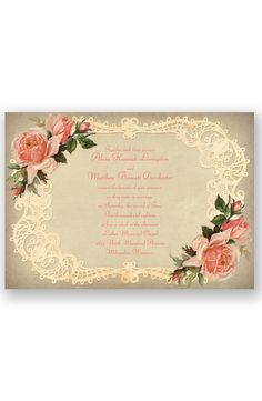 Inspiring Vintage Roses Wedding Invitation by David's Bridal