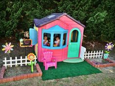 Kids Playhouse painted and remastered. You are in the right place about kids backyard party Here we Kids Indoor Playhouse, Outside Playhouse, Kids Outdoor Play, Outdoor Play Areas, Build A Playhouse, Kids Play Area, Backyard For Kids, Diy For Kids, Painted Playhouse