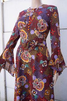 Robe longue maXi Dress Vintage VTG 70 SEVENTIES T 40 Hippy Bohême tWIggY