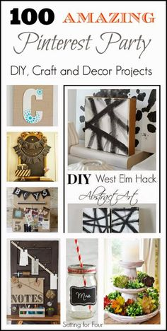 100 Amazing Pinterest Party DIY, Craft and Decor Projects - great DIY Handmade Gift ideas to make here too!