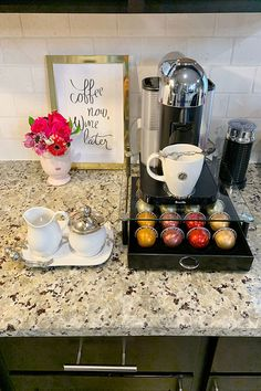 I wanted to share how to create a coffee/tea station in your kitchen. I know that some homes have a designated coffee/tea area, but some homes do not. Coffee Nook, Coffee Bar Home, Home Coffee Stations, Coffee Wine, Coffee Corner, Coffee Drinks, Wine Station, Tea Station, Latte Art