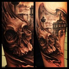"""Alexis Vaatete: """"I did this in Amsterdam at the tattoo museum. The city in the background is of the rival city Rotterdam. Hanky Pankys collection was sick!!! A big thanks to him and his crew for letting the Amsterdam Tribal tour 2012 come out and work their spot!!!!"""""""