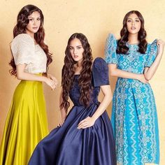 from - with my morena sisters Prom Dresses With Sleeves, Grad Dresses, Nice Dresses, Bridesmaid Dresses, Long Dresses, Bridesmaids, Modern Filipiniana Gown, Filipiniana Wedding, Filipino Wedding