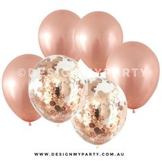 Rose Gold Metallic Balloons With 2 Confetti rose gold balloons