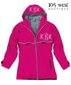 Our Monogrammed Rain Jacket in Hot Pink $59.99 ~ XS-3X. Available at 105 West Boutique located in Abbeville, SC. (864)366-WEST. Shipping $5 flat rate. Order In Store or Online! Allow 2-3 weeks for delivery. Find us on Facebook, Instagram and Twitter!