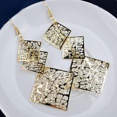 Sale Fashion Long Dangle Drop Earrings Hook Hollow Square Hot Sale Gold Plated Golden/Silvery Evening Party Eearring